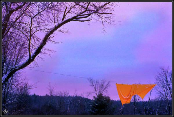 Photograph - Orange Bedspread On A Winter Line by Wayne King