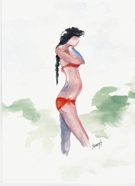Painting - Orange Bikini by Sam Sidders