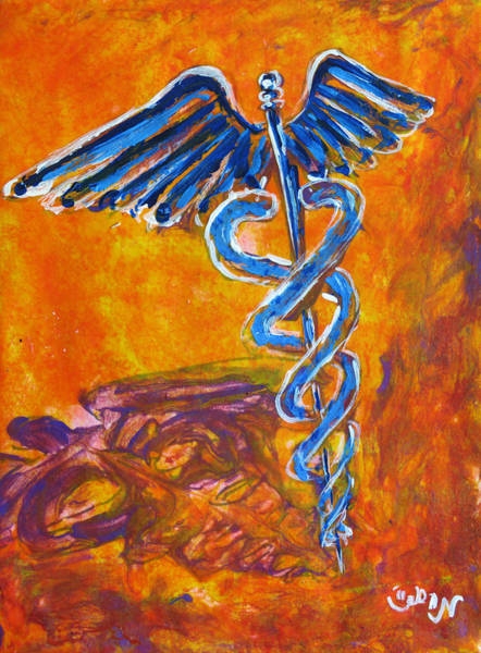 Research Painting - Orange Blue Purple Medical Caduceus Thats Atmospheric And Rising With Mystery by M Zimmerman