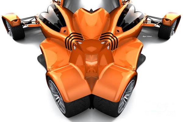 Digital Art - Orange Car 0945 by Rafael Salazar