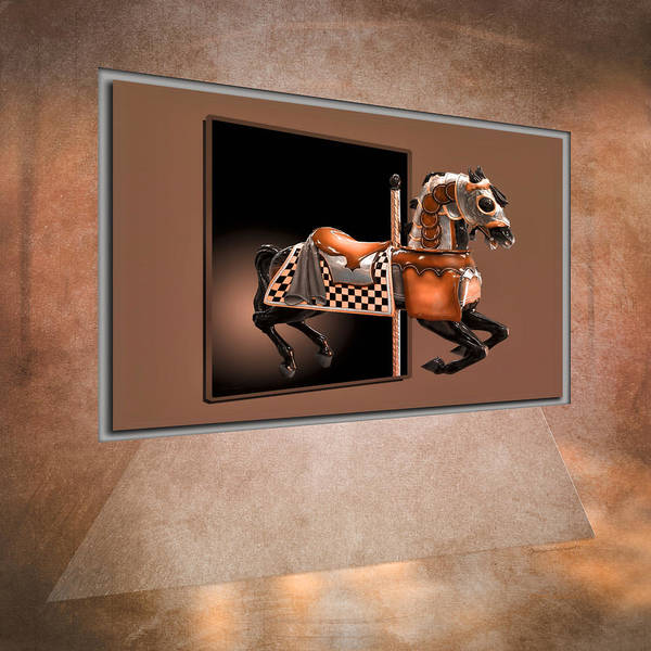 Antique Carousel Mixed Media - Orange Carousel Horse Left Panel 02 Textured by Thomas Woolworth