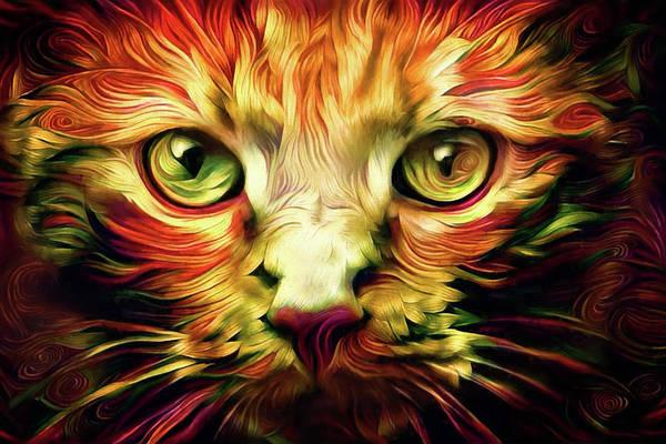 Digital Art - Orange Cat Art - Feed Me by Peggy Collins