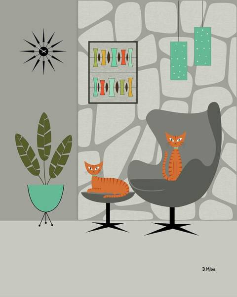 Wall Art - Digital Art - Orange Cat In Gray Stone Wall by Donna Mibus