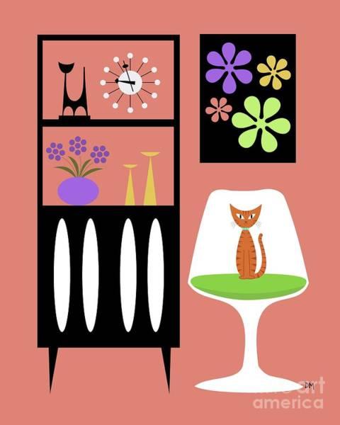 Digital Art - Orange Cat In Pink Room by Donna Mibus