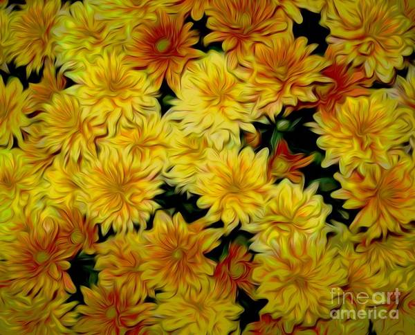 Mixed Media - Orange Chrysanthemums Chinese Lantern Smudge Effect by Rose Santuci-Sofranko
