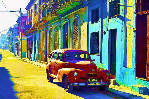 Wall Art - Painting - Orange Classic Car - Havana Cuba by Chris Andruskiewicz