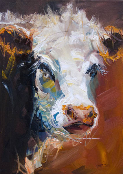 Wall Art - Painting - Orange Cow by Diane Whitehead