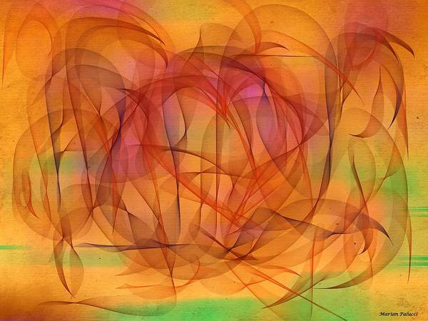 Mixed Media - Orange Cycle Days Abstract by Marian Palucci-Lonzetta