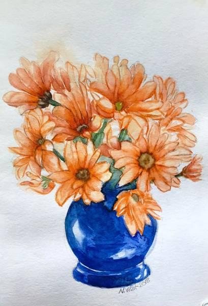 Painting - Orange Daisies B by Nancy Wait