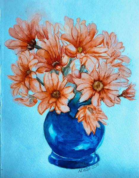 Painting - Orange Daisies Blue Background by Nancy Wait