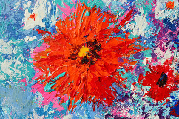 Painting - Orange Flower Daisy Modern Floral Impressionistic Palette Knife Work by Patricia Awapara