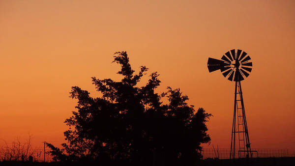 Orange Dawn With Windmill Art Print
