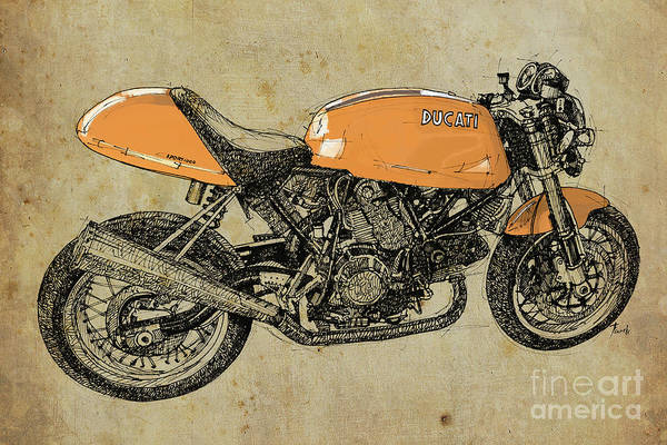 Handmade Wall Art - Drawing - Orange Ducati, Original Handmade Drawing by Drawspots Illustrations