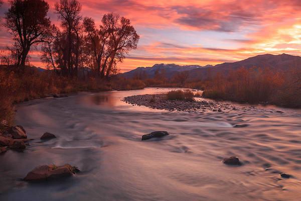 Photograph - Orange Dusk Sky At The Provo River. by Johnny Adolphson