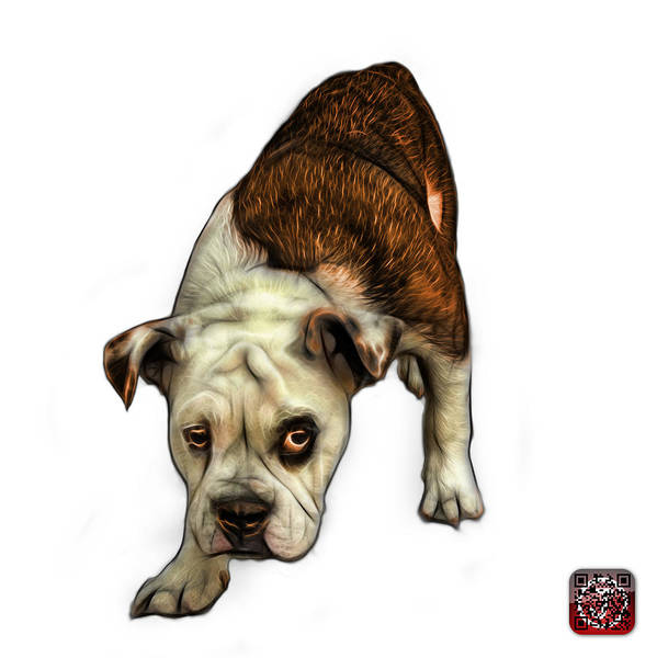 Painting - Orange English Bulldog Dog Art - 1368 - Wb by James Ahn