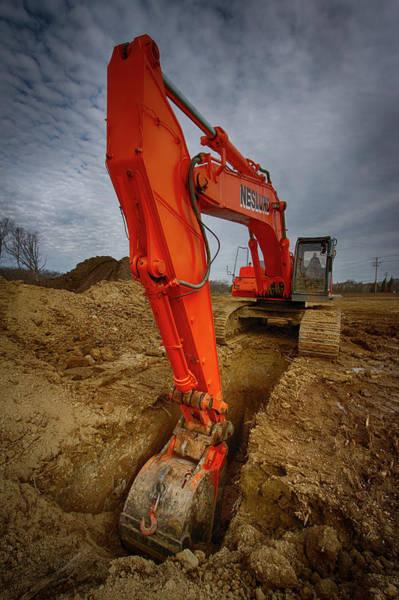 Heavy Duty Truck Wall Art - Photograph - Orange Excavator by Mike Burgquist