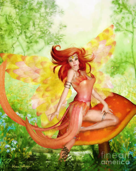 Digital Art - Orange Fairy by Alicia Hollinger