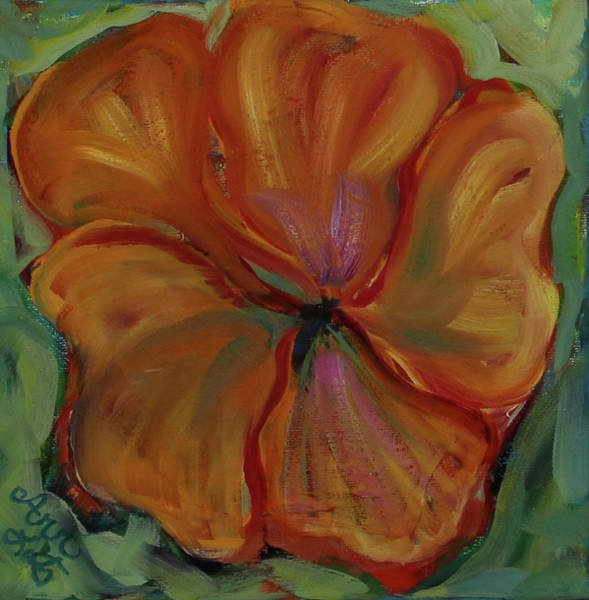 Wall Art - Painting - Orange Flower by Ann Lutz