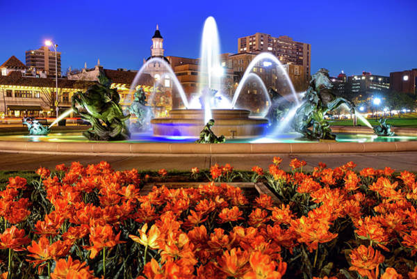 Country Club Plaza Photograph - Orange Flowerbed At The J.c. Nichols Memorial Fountain - Kansas City by Gregory Ballos