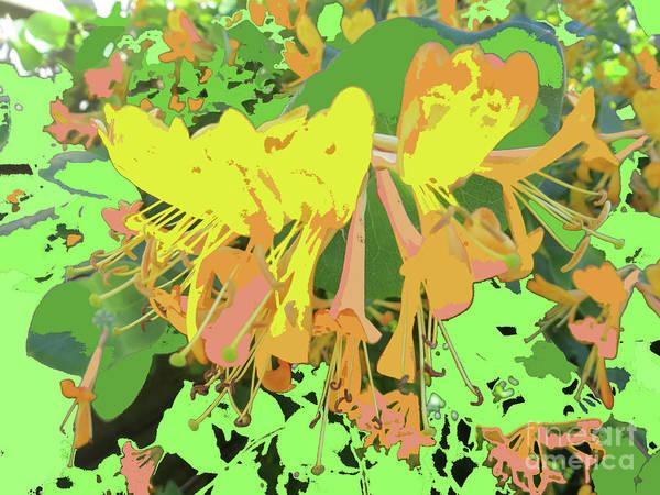 Yellow Trumpet Mixed Media - Orange Flowers By M.l.d. Moerings 2015 by Marion Moerings