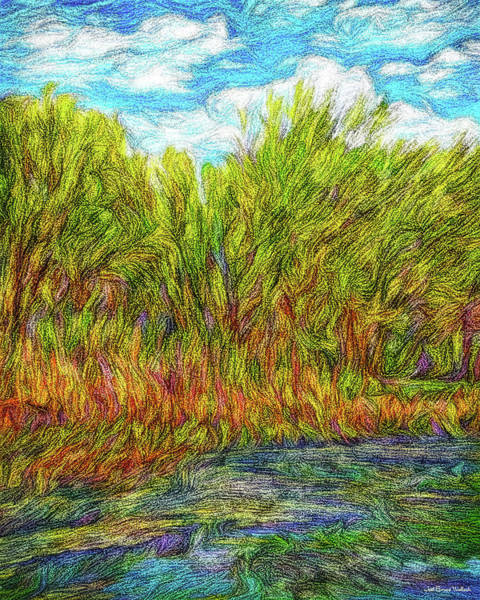 Digital Art - Orange Flowers Of The Lake by Joel Bruce Wallach