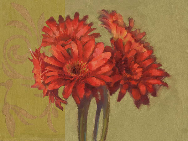 Orange Gerbers Art Print by Cathy Locke