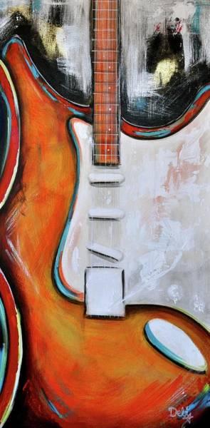 Wall Art - Painting - Orange Guitar by Debi Starr