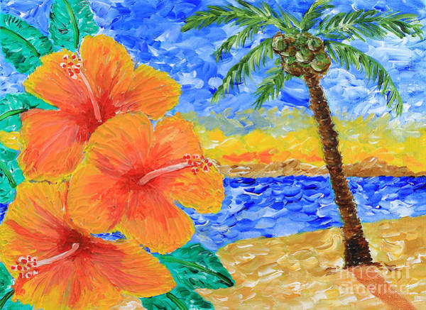 Hibiscus Flower Painting - Orange Hibiscus Coconut Tree Sunrise Tropical Beach Painting by Beverly Claire Kaiya