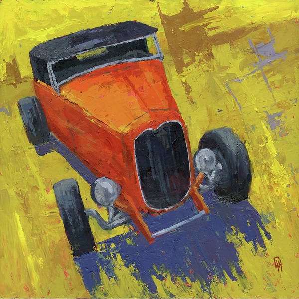 Collector Car Painting - Orange Hot Rod Roadster by David King