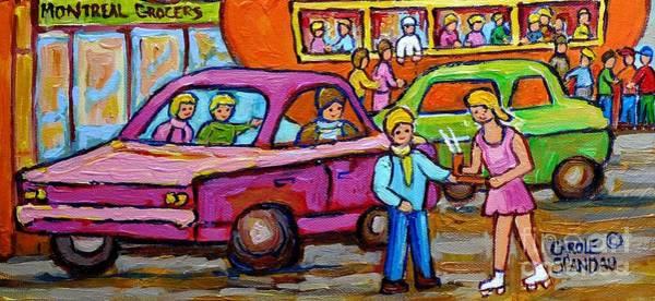Painting - Orange Julep Roadside Attraction Fast Food Drive-in Diner Car Service Skater Girl C Spandau Montreal by Carole Spandau