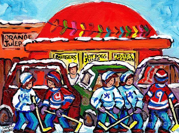 Painting - Orange Julep Drive In Montreal Winter City Scene Painting Hockey Art Canadian Artist Carole Spandau  by Carole Spandau