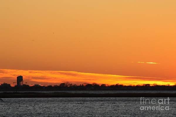 Wall Art - Photograph - Orange Layered Long Island Fall Sunset by John Telfer