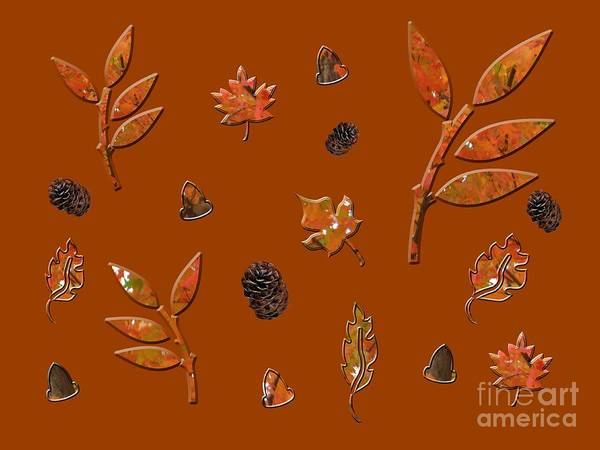 Photograph - Orange Leaves Pine Cones by Rockin Docks Deluxephotos