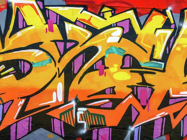 Photograph - Orange Lettering Urban Art by SR Green