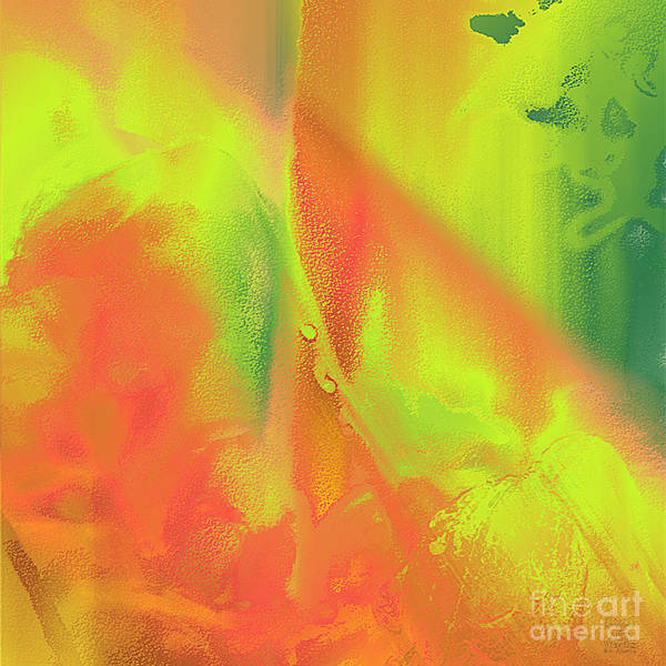 Digital Art - Orange Lime Green Abstract by Dee Flouton