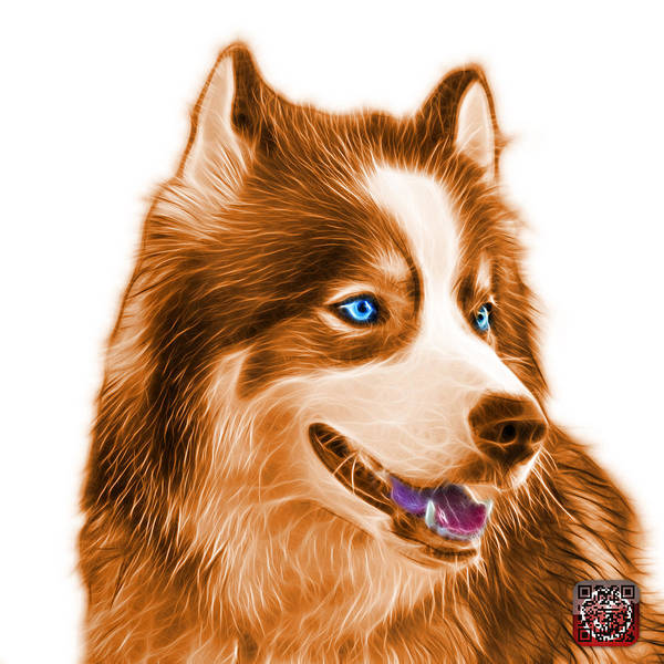 Painting - Orange Modern Siberian Husky Dog Art - 6024 - Wb by James Ahn