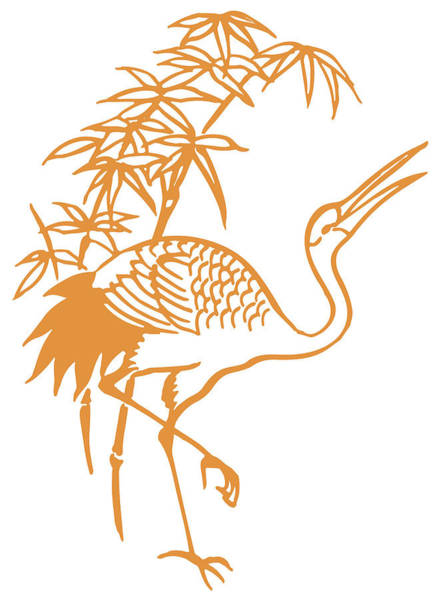 Pelican Mixed Media - Orange Pelican Under Palm Trees by Zal Latzkovich