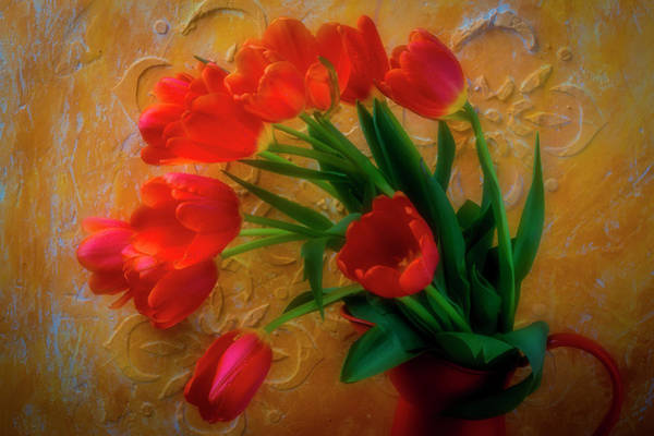 Pitcher Plant Photograph - Orange Pitcher With Orange Tulips by Garry Gay
