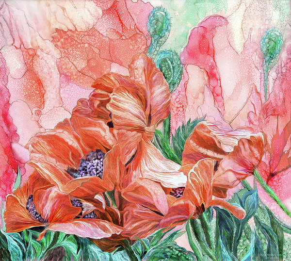 Mixed Media - Orange Poppies Of Summer by Carol Cavalaris