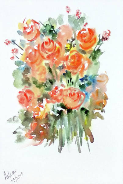 Painting - Orange Roses by Asha Sudhaker Shenoy