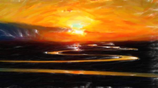 Painting - Orange Skies Over Prairie by Adam Asar