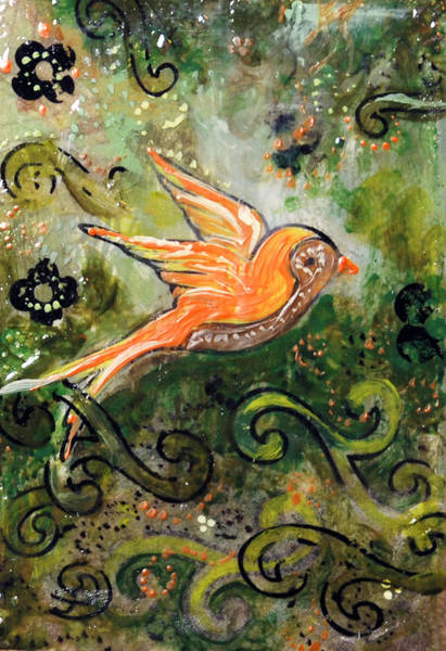 Transfer Mixed Media - Orange Sparrow - Miniature Art by Jennifer Kelly