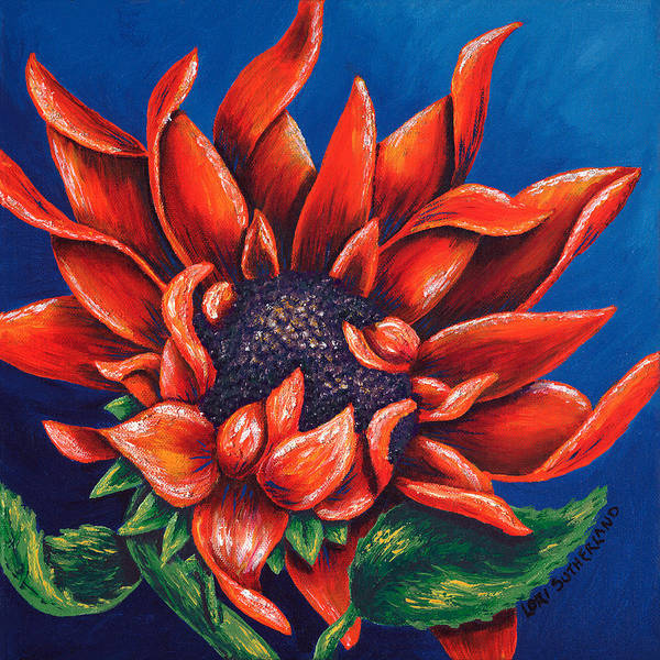 Painting - Orange Sunflower by Lori Sutherland