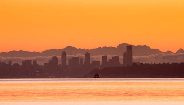 Photograph - Seattle Skyline In Orange by E Faithe Lester