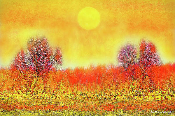 Digital Art - Orange Sunset Shimmer - Field In Boulder County Colorado by Joel Bruce Wallach