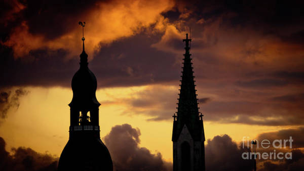 Photograph - Orange Sunset View In Old Town Riga Artmif by Raimond Klavins