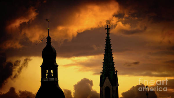 Photograph - Orange Sunset View In Old Town Riga by Raimond Klavins