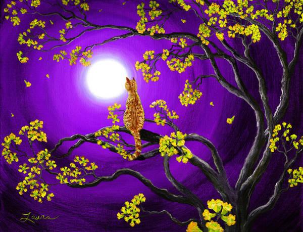 Zen Digital Art - Orange Tabby Cat In Golden Flowers by Laura Iverson