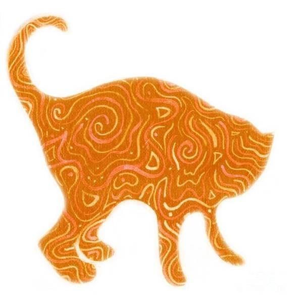 Digital Art - Orange Tabby by Helena Tiainen
