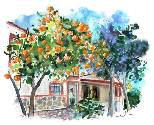 Painting - Orange Tree And Jacaranda In Turre In Andalucia by Miki De Goodaboom